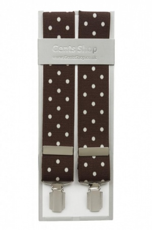 Brown Trouser Braces with Large White Polka Dot Design - Available In 3 Sizes